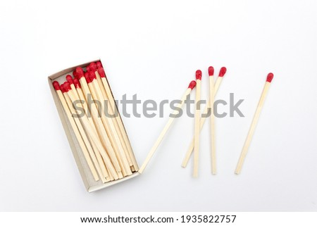 Matches. Large matches for barbecue, grill. Isolated matches on white background Set of matches in a box on a white background isolated Royalty-Free Stock Photo #1935822757
