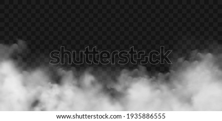 Realistic fog, mist effect. Smoke on dark background. Vector vapor in air, steam flow. Clouds.
