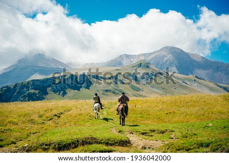 Mountains of Republic of Adygea, Russia. Yavorova Polyana. Walking route and beauty of Adygea. Caucasian mountains. The Caucasian reserve. Caucasian ridge. Mountain Lake. Lagonaki Royalty-Free Stock Photo #1936042000