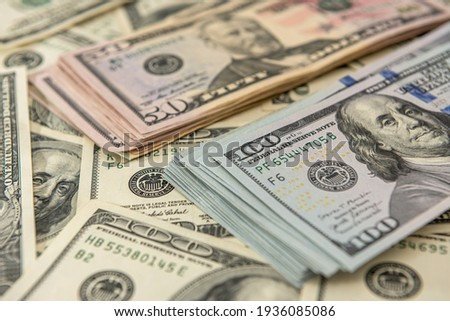 Background of US dollar bills. Top view point. financial concept Royalty-Free Stock Photo #1936085086
