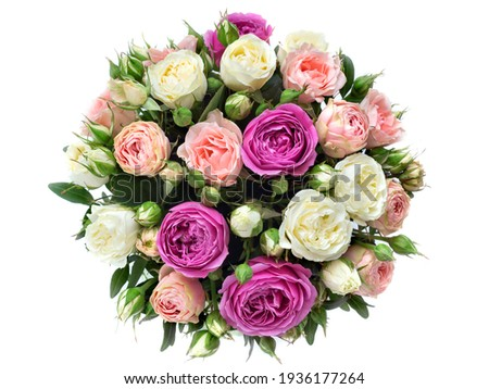 roses in a bouquet on a white background, round flower arrangement, top view as a gift for an anniversary. pink, yellow roses Royalty-Free Stock Photo #1936177264