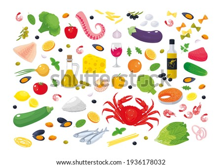 Collection of Mediterranean cuisine ingredients: vegetables, seafood, olive oil, fish, pasta, fruits, cheese. Healthy food. Vector illustration, set of icons, stickers, symbols, badges, design element Royalty-Free Stock Photo #1936178032