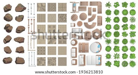 Vector set for landscape design. Outdoor furniture, architectural elements, trees. (top view) Fences, paths, tile, benches, tables, chairs, sun loungers. (view from above) Royalty-Free Stock Photo #1936213810