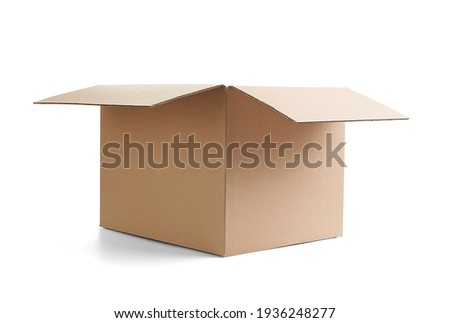 close up of  a cardboard box on white background Royalty-Free Stock Photo #1936248277