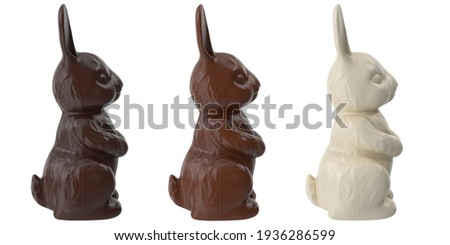 Three chocolate bunnies from black, milk and white chocolate, side view isolated on white. 3D illustration