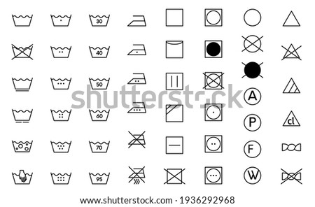 Clothes care icon set. Laundry symbols, black monochrome vector illustration isolated on white. Royalty-Free Stock Photo #1936292968