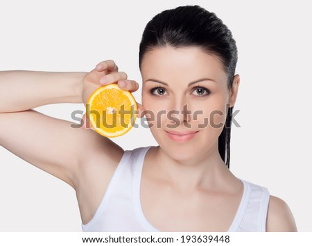 Beautiful close-up portrait of young woman with oranges. Healthy food concept. Skin care and beauty. Vitamins and minerals. #193639448