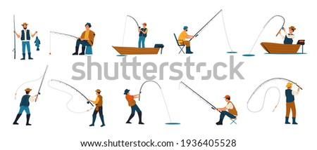 Fisherman. Cartoon people fishing. Characters catching fish with rods while standing on shore of lake and sitting on folding chairs or from boats. Males hobby. Vector leisure pastime