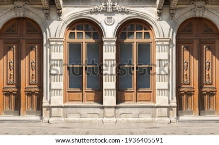 Background for design, texture walls and windows of houses, building facades. On the streets in Istanbul, public places. Royalty-Free Stock Photo #1936405591