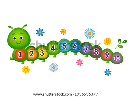 child study allowance for counting up to 10. cute caterpillar with numbers. vector illustration isolated on white background