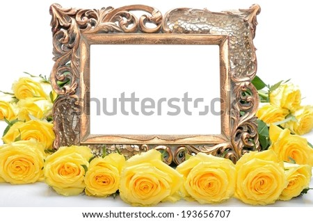 Old a gilded frame for for the congratulatory inscription and yellow roses