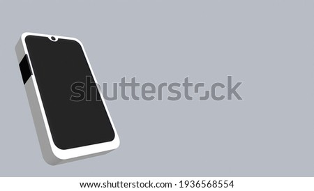 3D phone illustration isolated on gray white background with clipping paths