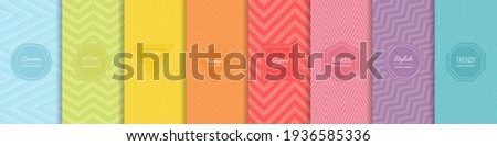 Rainbow chevron vector geometric seamless patterns collection. Set of bright colorful backgrounds with modern minimal labels. Cute abstract zigzag textures. Pattern design for Easter, holiday decor Royalty-Free Stock Photo #1936585336