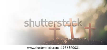 Three crosses. Easter, Christianity copy space background.