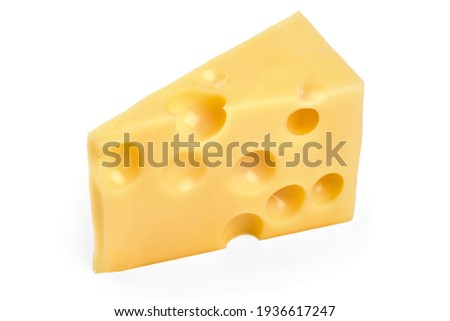Emmental cheese triangle, Swiss cheese, isolated on white background. High resolution image Royalty-Free Stock Photo #1936617247