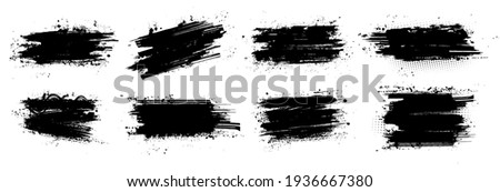 Ink brushstroke and paintbrush template with splashes grunge. Vector set black ink brush stroke. Dirty artistic design elements. Grunge splatter, dirt stain, brush with drops blots. Vector ink box