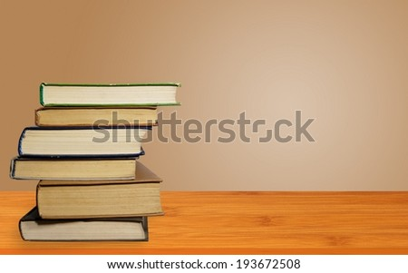 Old books on a wooden shelf. #193672508