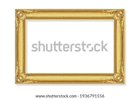 The antique gold frame isolated on the white background ,clipping path included for design. Royalty-Free Stock Photo #1936791556