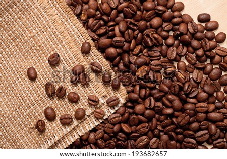 the coffee beans on burlap background, horizontal #193682657