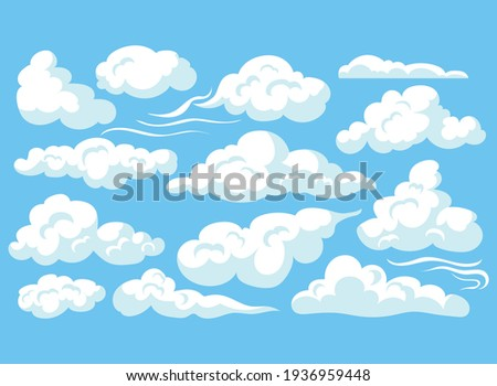 Cartoon clouds isolated on blue sky panorama vector collection. Cloudscape in blue sky, white cloud illustration Royalty-Free Stock Photo #1936959448