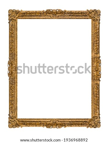 Old wooden picture frame isolated on white background Royalty-Free Stock Photo #1936968892