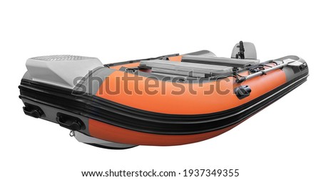 The image of inflatable rubber pvc motor boat for tourism travel and fishing or hunting  Royalty-Free Stock Photo #1937349355