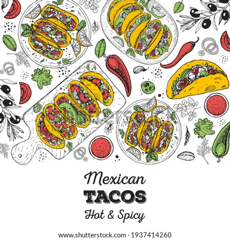 Mexican tacos and ingredients for tacos, sketch illustration. Mexican cuisine frame. Fast food menu design elements. Tacos hand drawn frame. Mexican food. Engraved style Royalty-Free Stock Photo #1937414260