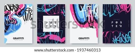 Abstract graffiti poster with colorful tags, paint splashes, scribbles and throw up pieces. Street art background collection. Artistic covers set in hand drawn graffiti style. Vector illustration Royalty-Free Stock Photo #1937460313