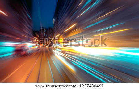 Abstract image of night traffic light trails in the city Royalty-Free Stock Photo #1937480461