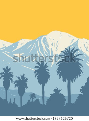 The San Gabriel Mountains National Monument Located in Angeles and San Bernardino National Forest California WPA Poster Art Royalty-Free Stock Photo #1937626720