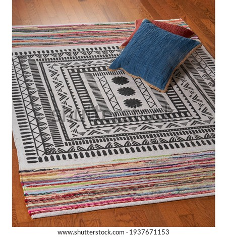 Home Vogue Centering Geometric Chindi Area Rug. Royalty-Free Stock Photo #1937671153