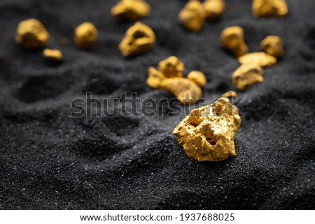 Pure gold from the mine that was unearthed was placed on the black sand. Royalty-Free Stock Photo #1937688025