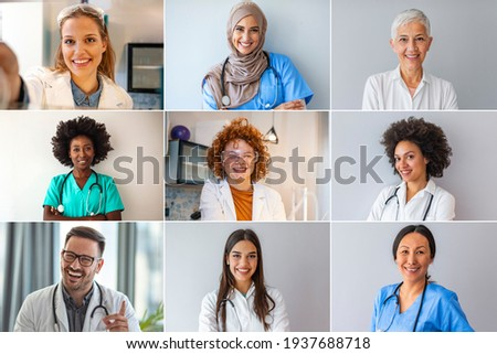 Set Of Happy Male And Female Doctors. Medical staff around the world - ethnically diverse headshot portraits. Professional healthcare staff headshot portraits smiling and looking to camera.