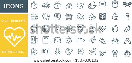 Sport and Fitness Icons Set vector design  Royalty-Free Stock Photo #1937830132
