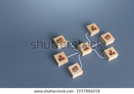 Bank blocks are linked to money by lines. Operation of money funds, transactions. Lending, deposits. Capital Markets. Investment. Borrowing. Capitalization and liquidity of financial banking system. Royalty-Free Stock Photo #1937886058