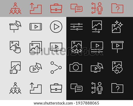 Gallery Set of Images vector line icons. Contains icons such as video, play video, edit images, Business Training, like photo. Editable stroke. Vector illustration