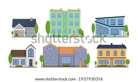 Home facade with doors and windows. Suburban American house exterior flat design front view with roof and some trees. Apartment in a townhouse. Modern buildings in a flat style. Vector illustration. Royalty-Free Stock Photo #1937930356
