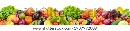 Horizontal seamless pattern from healthy fruits, vegetables and berries isolated on white background. Royalty-Free Stock Photo #1937992009