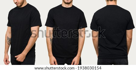 Hispanic young man wearing a black casual t-shirt. Side view, behind and front view of a mock up template for a t-shirt design print  Royalty-Free Stock Photo #1938030154