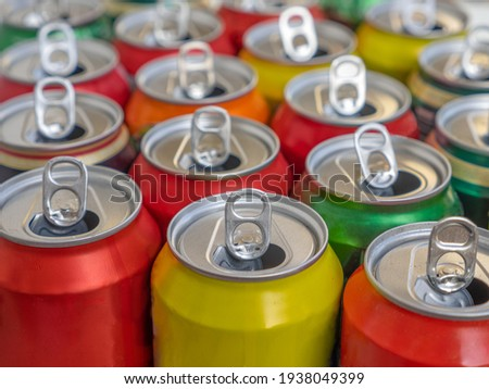 Recycling aluminum or metal empty cans top view. Group of cans for reuse and recycle. Royalty-Free Stock Photo #1938049399