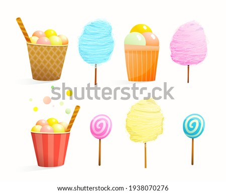 Sweet food isolated clipart collection. Candy cotton or floss, ice cream, sweets, lollipops, and desserts. Sweet street food for children. Isolated colorful watercolor style cartoon for kids.