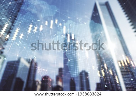 Double exposure of abstract financial graph with world map on office buildings background, forex and investment concept Royalty-Free Stock Photo #1938083824