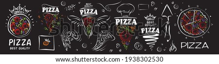 Set of vector pizza logos on black background
