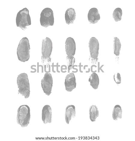 Fingers print on white  background. Vector illustration. #193834343