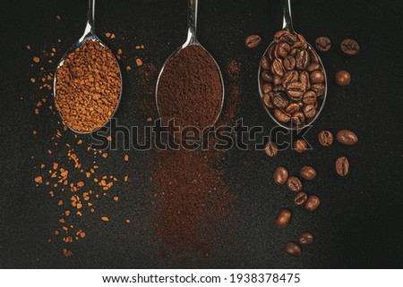 Awesome Picture of Dark Coffee Beans, Crushed Beans and Powder.of Dark Coffee.