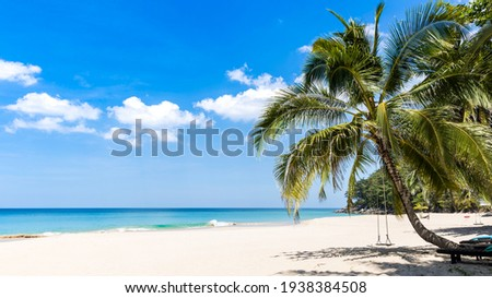 Sunny day of summer concept which the tropical beach banner with coco palm tree as swing for relax lifestyle of white sand  background, Travel summer concept Royalty-Free Stock Photo #1938384508