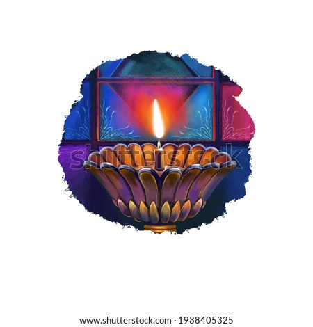 Happy Diwali digital art illustration isolated on white background. Indian festival of lights. Deepavali hand drawn graphic clip art drawing for web, print. Decorative oil lamp with bright flame
