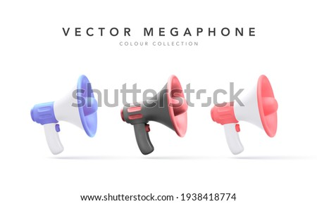 Set of 3d plastic megaphones with shadow isolated on white background. Vector illustration Royalty-Free Stock Photo #1938418774