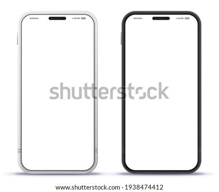 Mobile Phone Black and Silver Colored Design Concept. Vector Smartphone Mockup With Frameless White Screen. Isolated on Transparent Background.