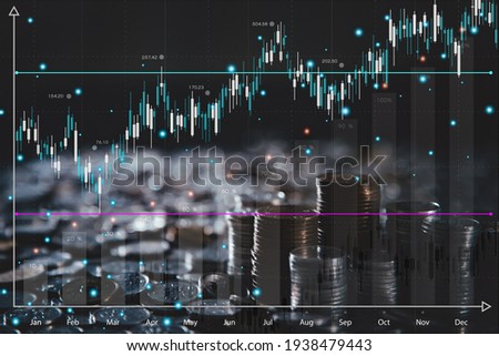 stock market graphs and chart analysis business analysis show profit with business chart the world's economic investments and stock market candles represent economic and financial growth